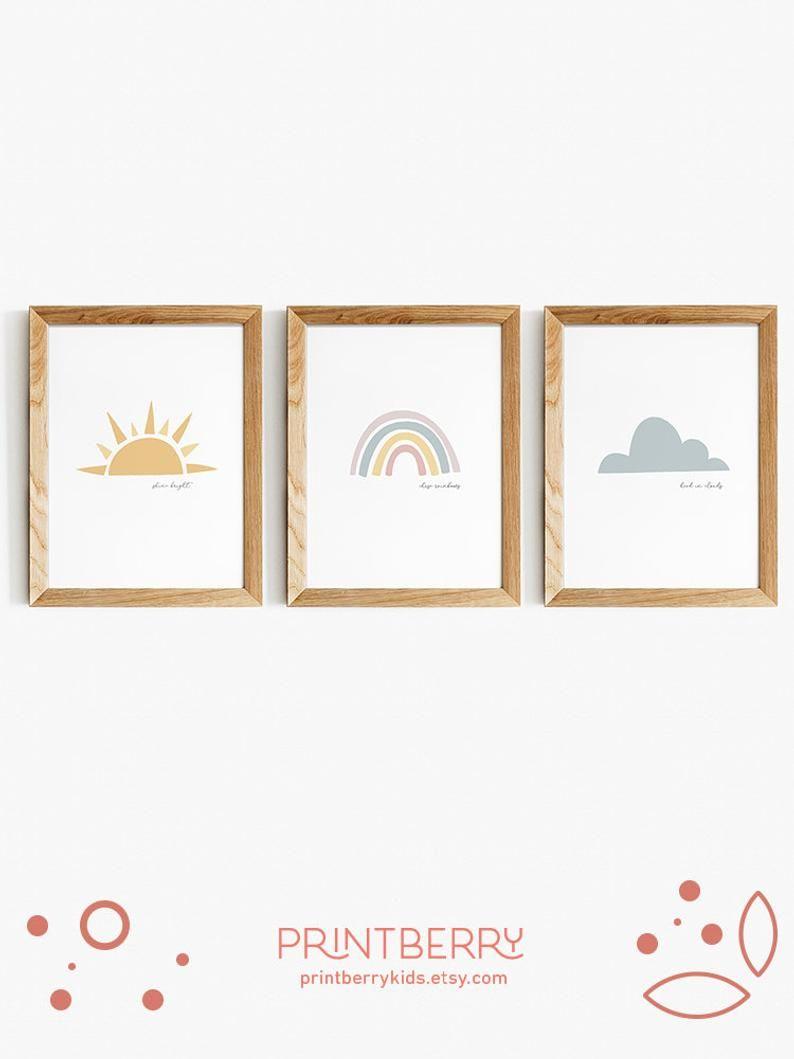 Sun Cloud Rainbow Boho Rainbow Print Bohemian Modern Kids Art