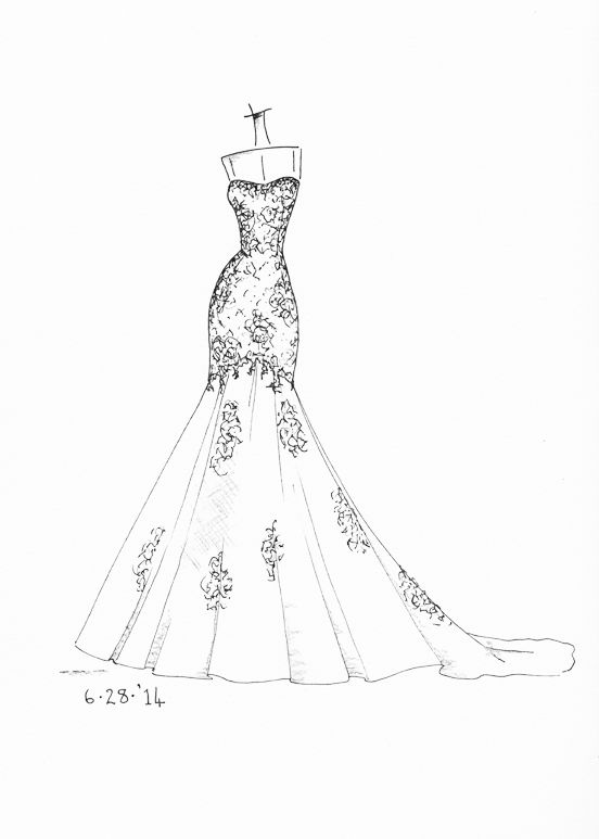 Www Etsy Com Shop Dresssketch Wedding Dress Sketch Desenhos De