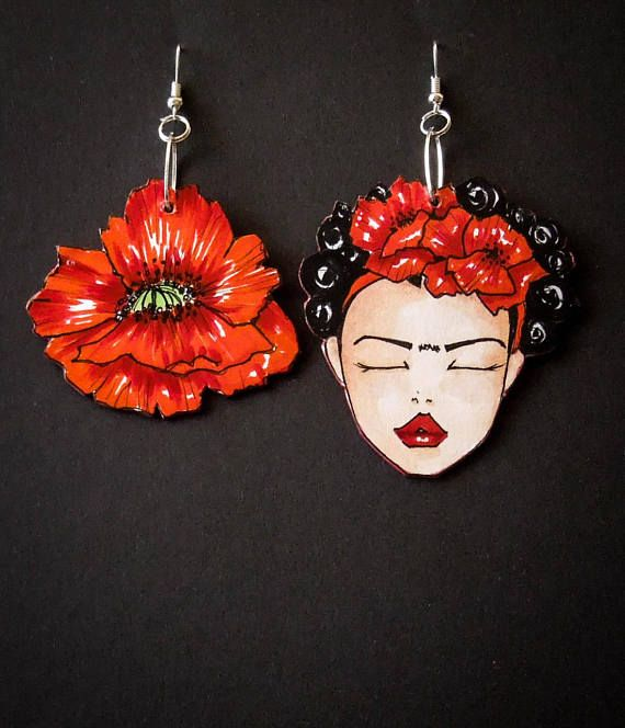 Feet, what do I need them for if I have wings to fly? [Frida Kahlo] A beautiful woman, an artist, a dreamer but over all a strong fighter against worst of life. These Frida asymmetrical earrings are dedicated to all the women to remember them Never Give Up The earrings belong to the collection Glamorous Ladies available here: https://www.etsy.com/shop/TheRollyS?ref=hdr_shop_menu&section_id=18376383 CREATIVE PROCESS I'm personally creating each item of ...