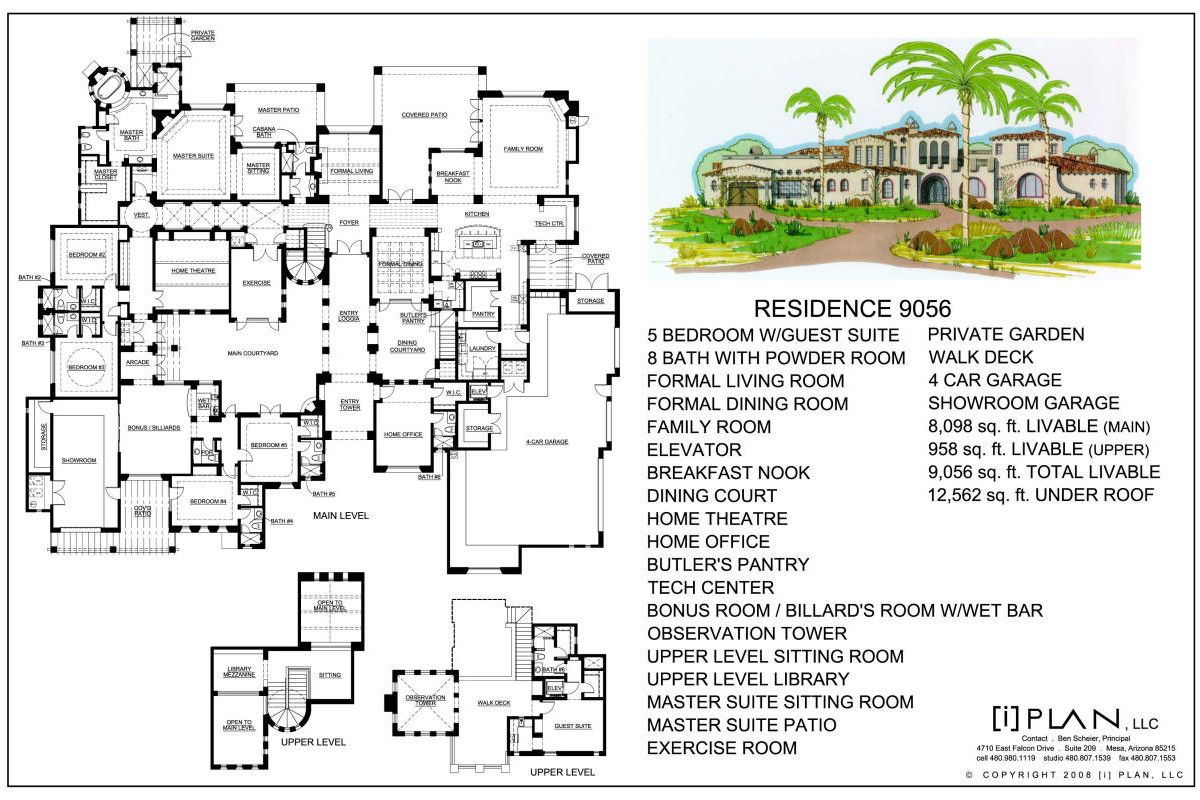 Custom Residential Home Designs By I Plan Llc Floor Plans 7 501 Sq Ft To 10 000 Sq Ft Architectural Floor Plans House Plans Mansion Floor Plans