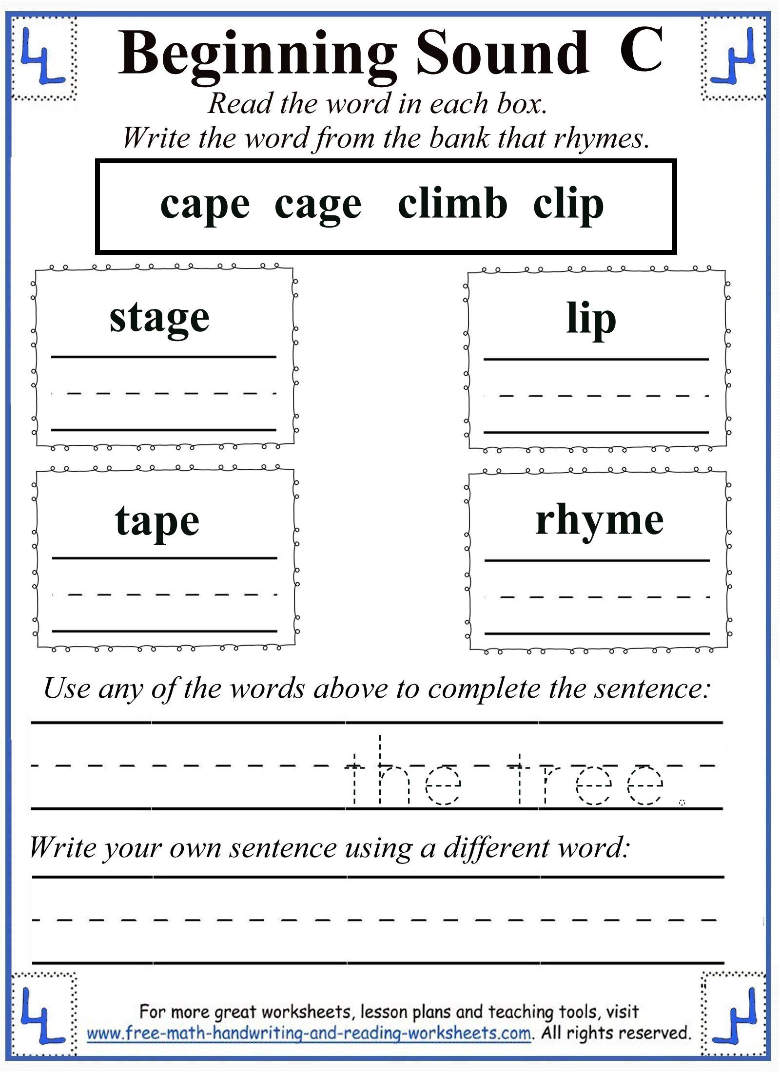 Printable Letter C Worksheets Activities Rhyming Words Letter P Worksheets Rhyming Worksheet [ 2200 x 1600 Pixel ]