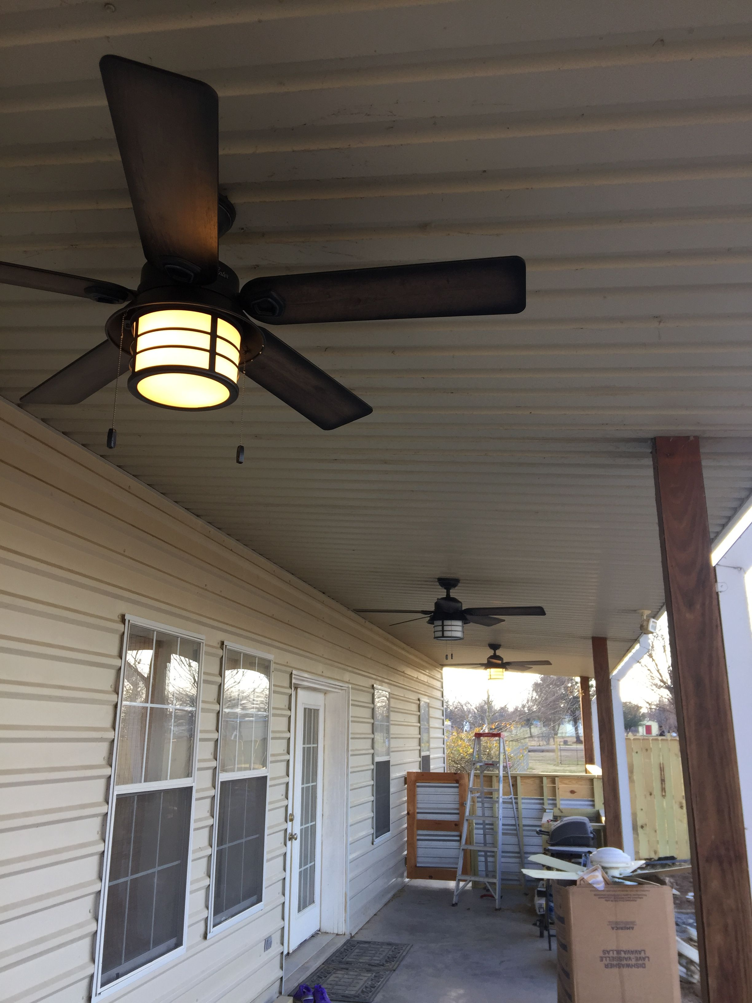our back porch hunter fans are all installed so excited the outdoor kitchen with galvanized on outdoor kitchen ventilation id=42197