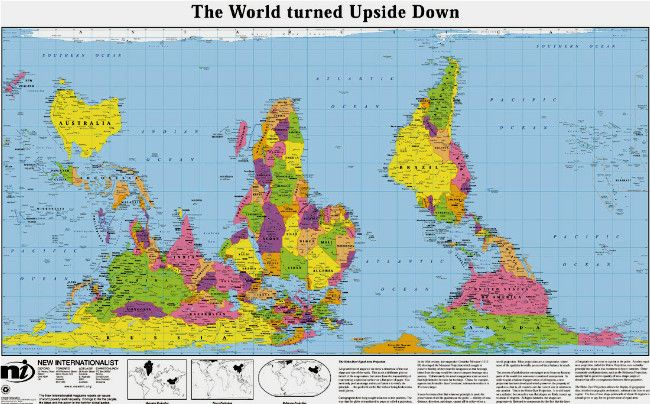 Upside down map part of the the true size of africa info graphs odt maps hobo dyer equal area the world turned upside down south upafrica centered gumiabroncs Images
