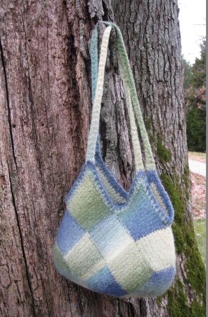 Ftce Bag Felted Tunisian Crochet Entrelac Crochet Pattern Can Be