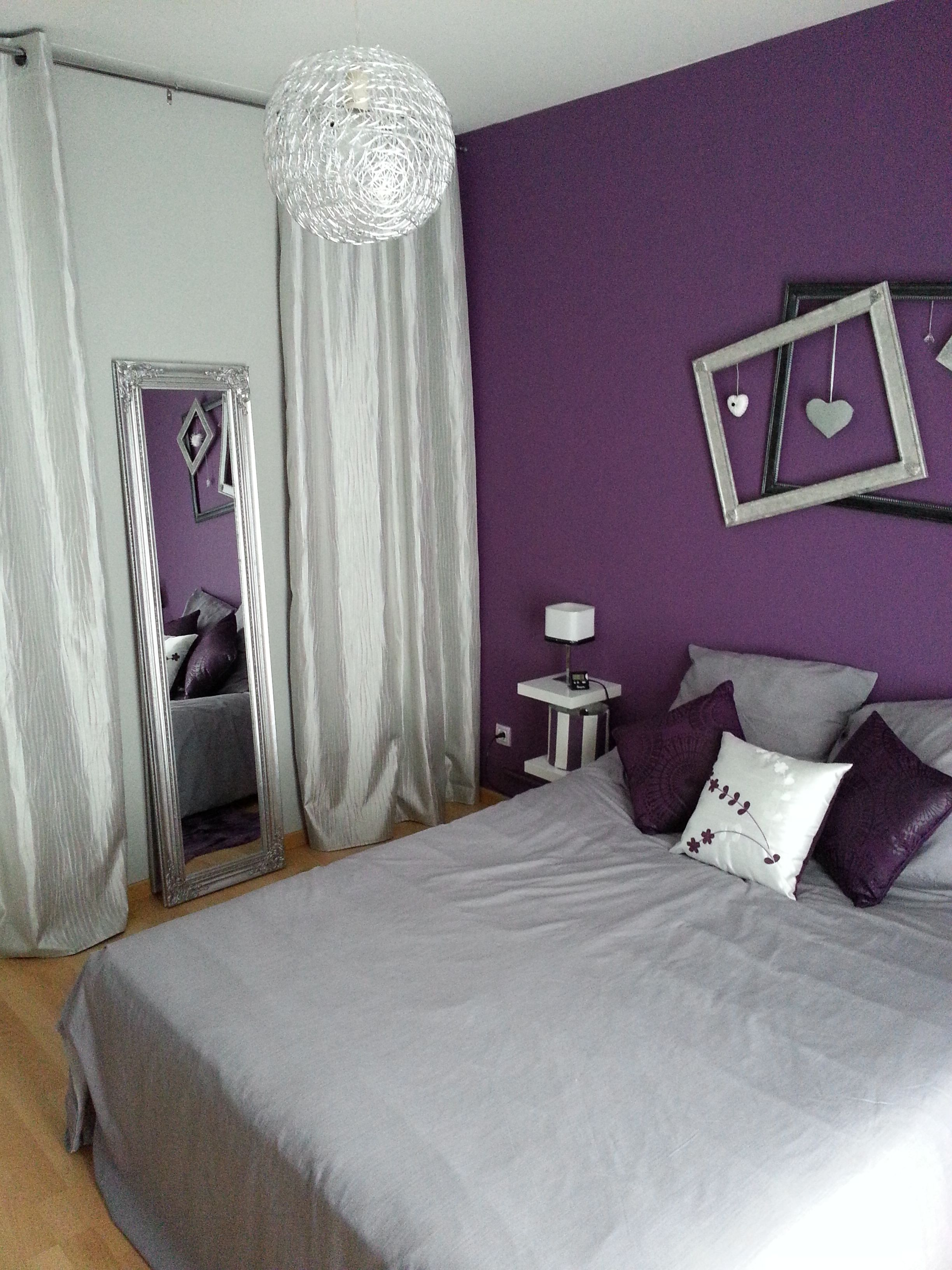 D coration violet chambre parentale5 chambre parentale gris et violet karinedeco - Chambre a coucher mauve et gris ...