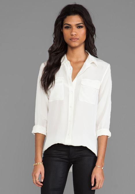 equipment - slim signature blouse in bright white (revolve)