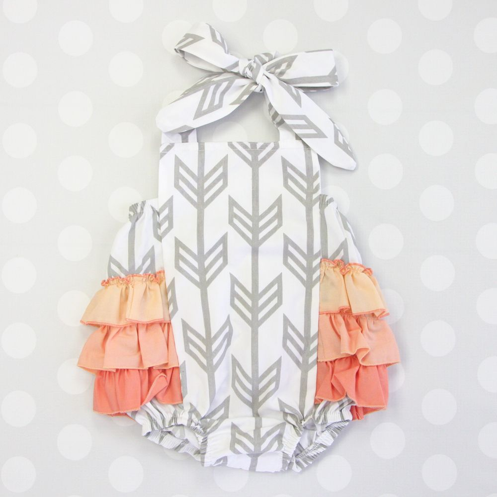 Our signiture arrow print now in a gorgeous ruffle butt romper for baby girls..I'm in love!