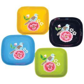 The Rosa Palomo Plate Set brings floral hues and fine design to your kitchen décor. Adorned with vibrant blossoms, these lovely designs showcase vibrant hues and classic silhouettes.     Product: 4 Plates Construction Material: Stainless steel Color: Multi  Size: 1 H x 4 W x 3.75 D  Cleaning and Care: Rinse in cold water