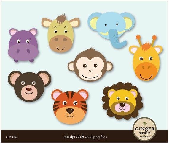Safari Animal Monkey Lion Tiger Elephant Clip art digital illustration Instant…