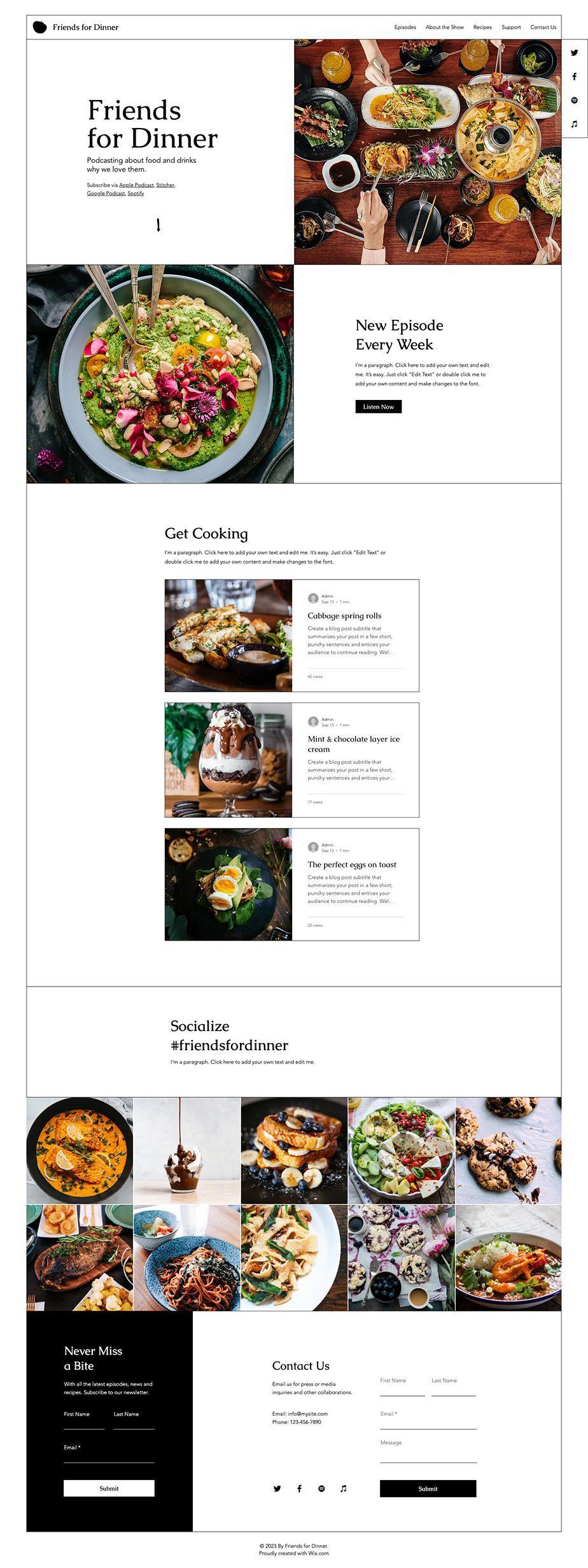 Food Podcast Website Template Wix Website Templates Wix Templates Website Template Wix Website Templates