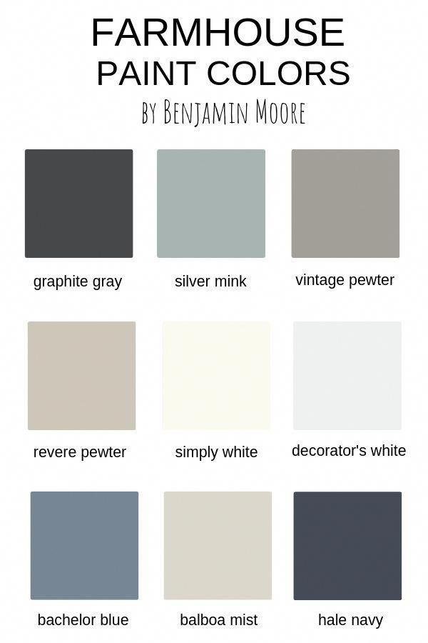 Farmhouse Paint Colors by Benjamin Moore is part of Farmhouse paint colors, Farmhouse paint, Modern farm house paint colors, Bedroom paint colors, Painting bathroom, Farm house colors - Favorite farmhouse paint colors that will give you that neutral farmhouse  fixer upper  touch throughout your home  A paint color for every room!