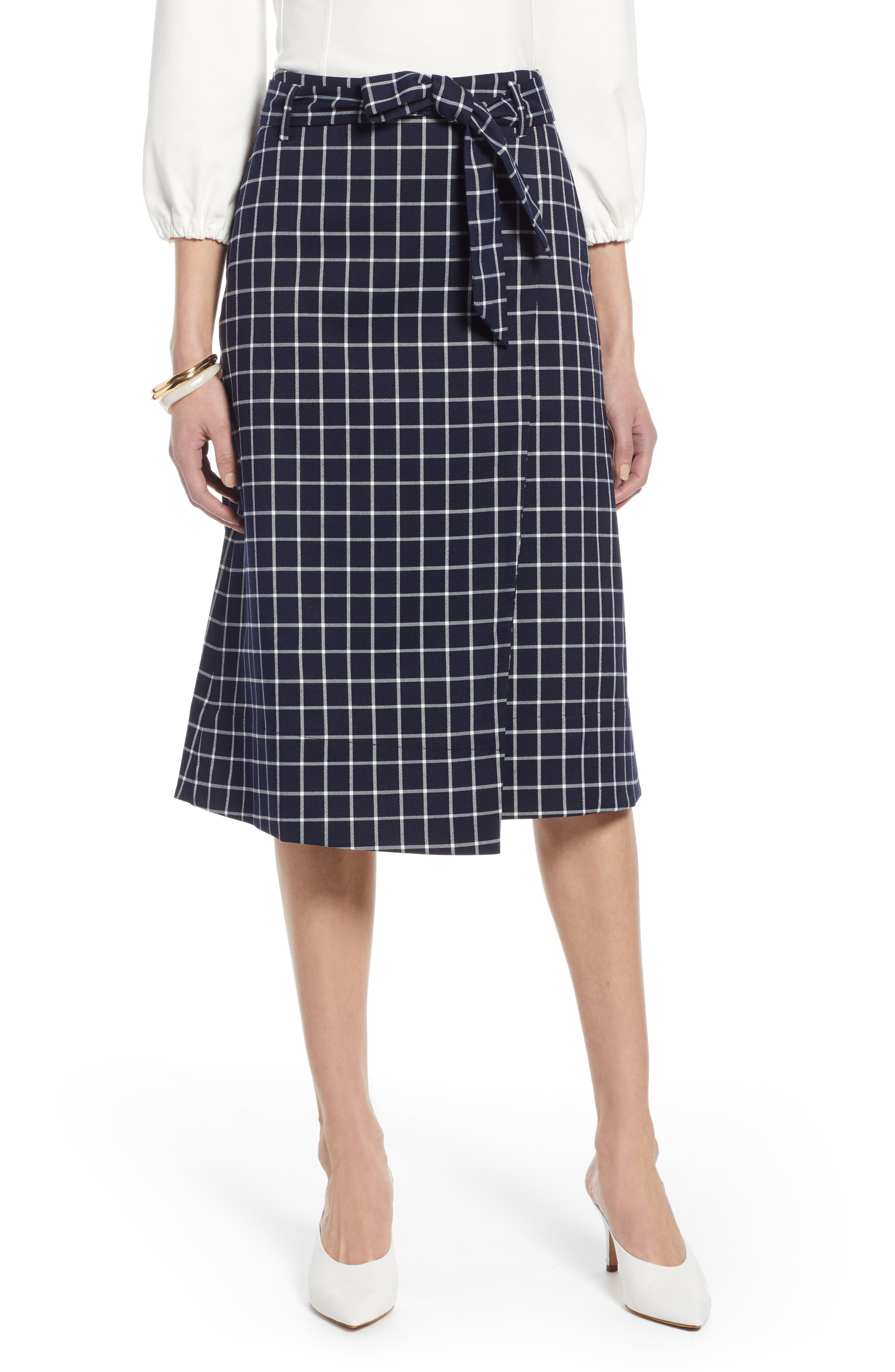 807b1686efbd Women's Halogen Tie Waist Check Skirt, Size 0 - Blue | Products in ...
