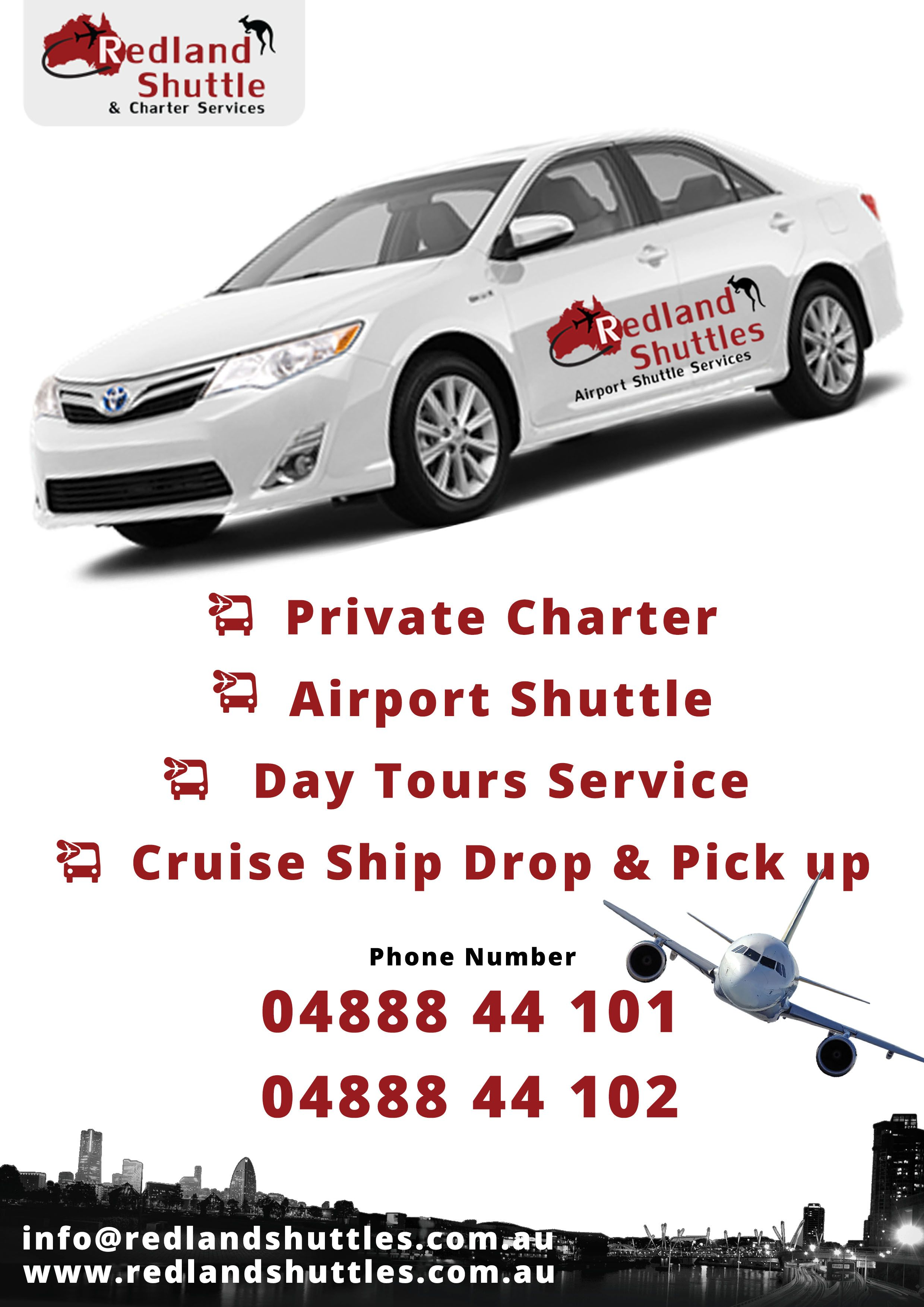 Redland shuttles specialized in 24hrs airport transfer