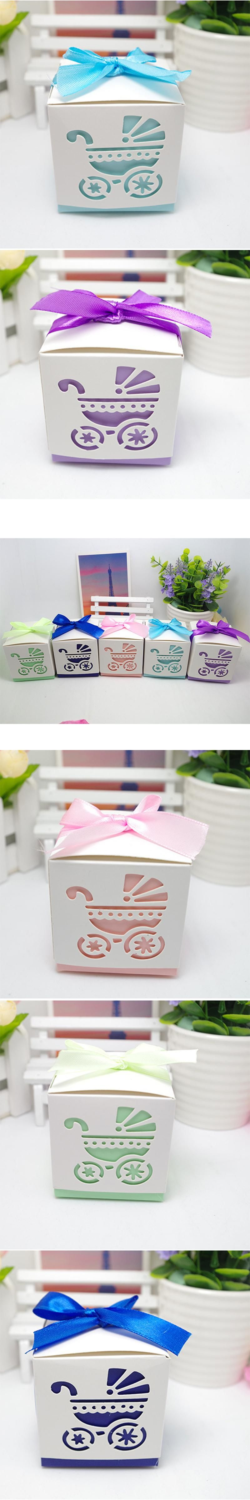 10Pcs Laser Cut Baby carriage Shower Candy Gifts Boxes Favor Boxes ...