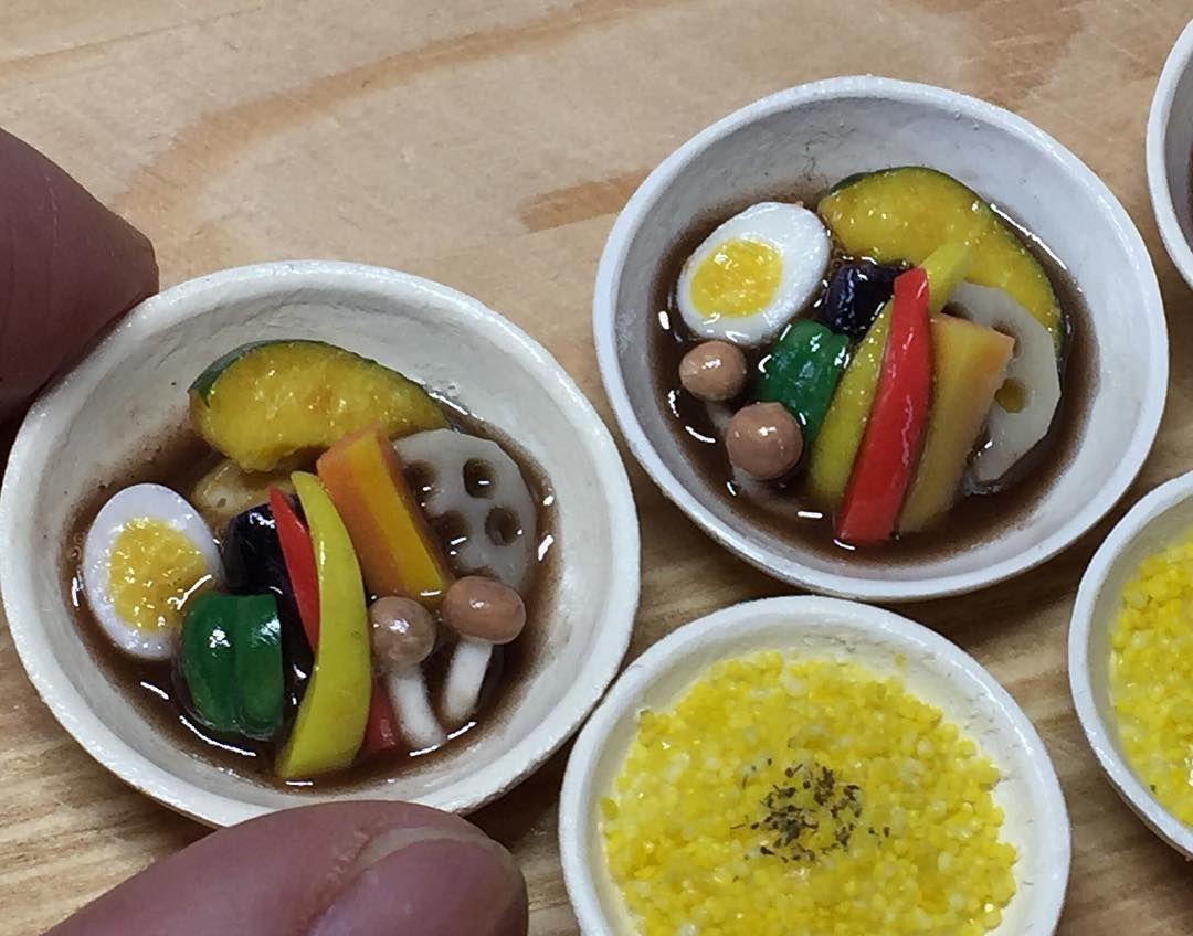 2月に作ったスープカレーです☆  #miniature #miniaturefood #dollhouse #dollhouseminiatures #fakefood #clay #ドールハウス #ミニチュア #ミニチュアフード #フェイクフード #粘土 #樹脂粘土 #スープカレー