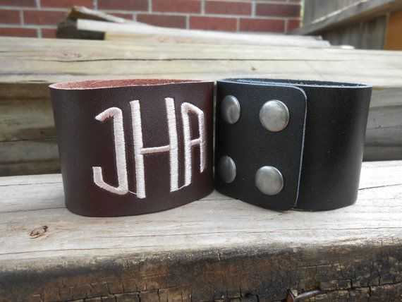 Monogrammed leather cuff by InitialImpressionsKT on Etsy, $25.00