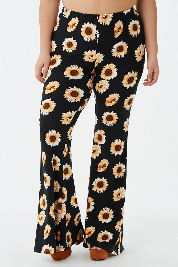 70b251c136 Plus Size Sunflower Print Flare Pants in 2019 | CLOTHES | Flare ...