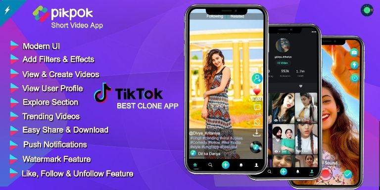 Pikpok Video Creating Amp Short Video Tiktok Clone App