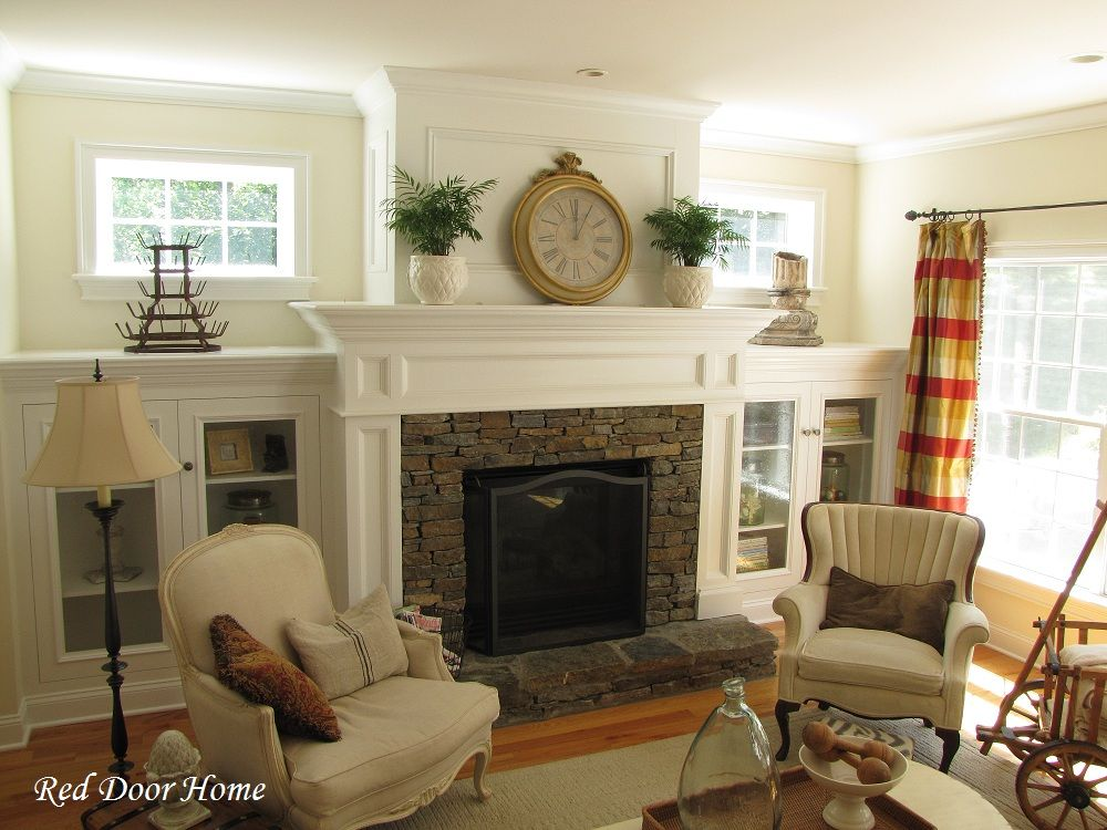 Living Room With Fireplace And Windows red door home: built in cabinets - the details on how they did it