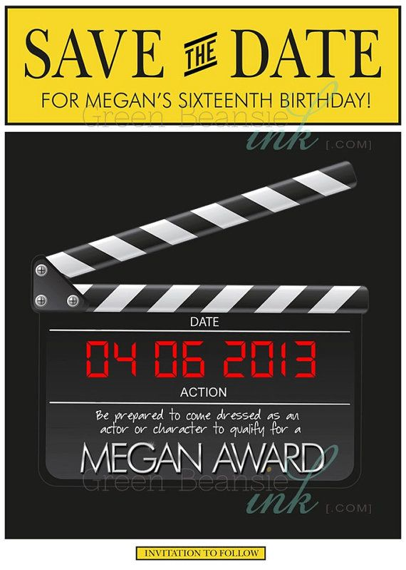 BROADWAY HOLLYWOOD Save The Date Printable Party Invitation – Hollywood Themed Party Invitations