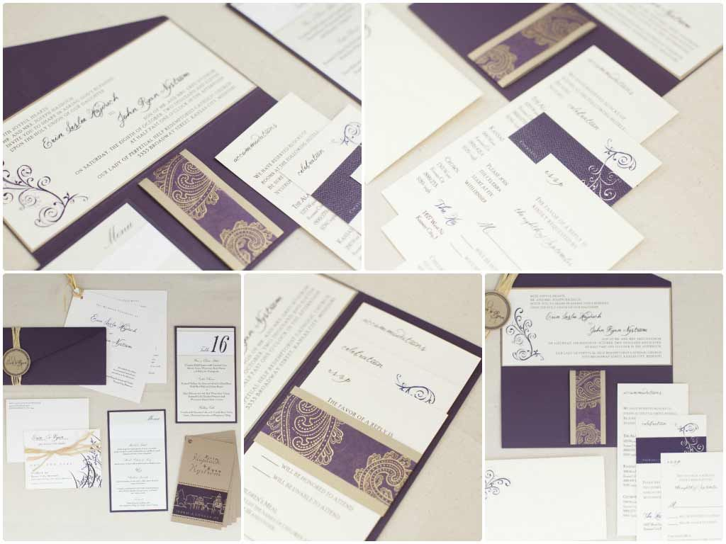 Eggplant and Gold Invitation with Raffia Monogram | Our Wedding 2014 ...