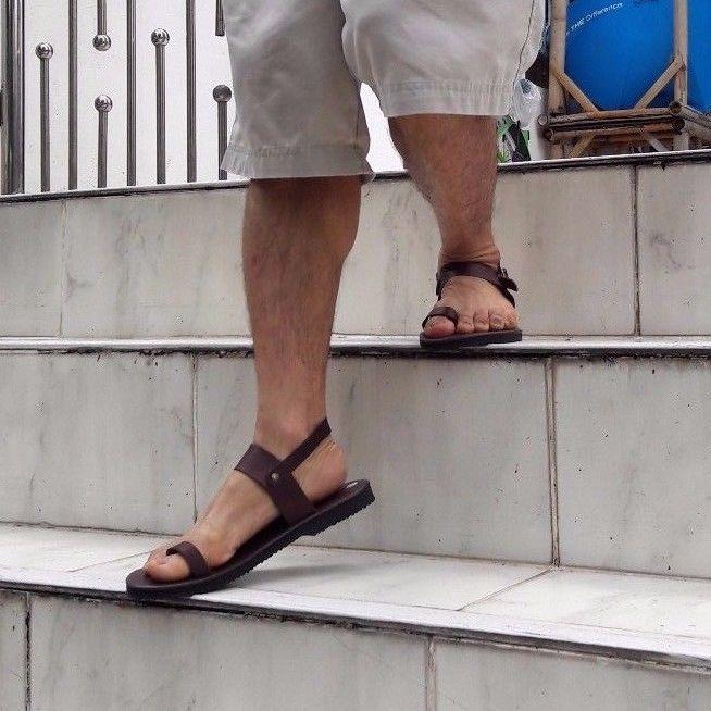 Roman Ring-Toe Ankle Strap Flat Handmade Brown Leather Boho Sandal Women's Men's  | eBay