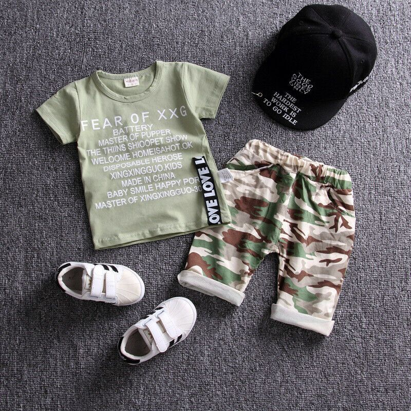 2PCS//set Toddler Kids Baby Boys camouflage Tops /&shorts Clothes Outfits Suits
