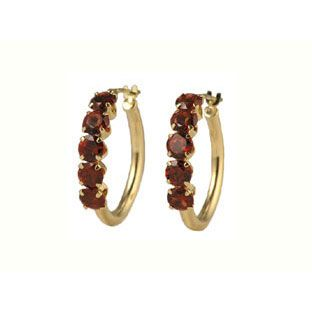 14k Gold Garnet Earrings Hoop Jewelry Available Exclusively At Gemologica