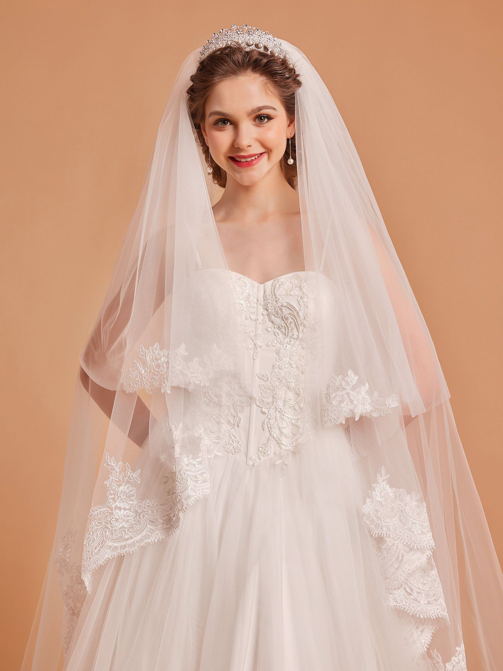 AW 2T Ivory Cathedral Wedding Veil Lace Applique Edged
