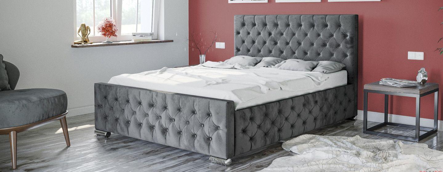 łóżko Tapicerowane Do Sypialni 140x200 2230g Welur Meble W