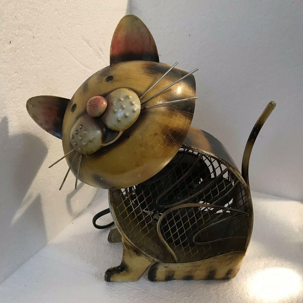 Deco BREEZE Rustic Tin Metal Cat Shape Fan SingleSpeed