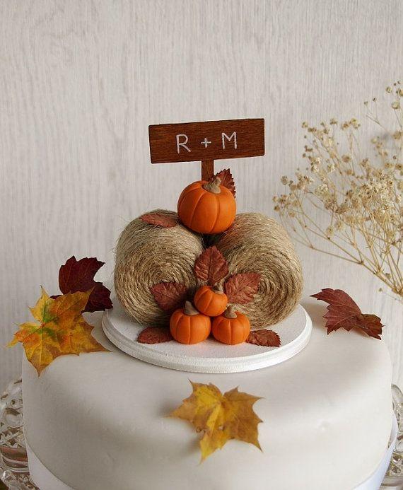 Rustic Pumpkin Hay Bales Cake Topper
