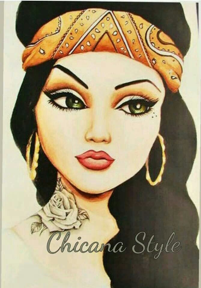 Chola Girl Drawing : chola, drawing, Margie, Chicano, Lowrider, Mexican