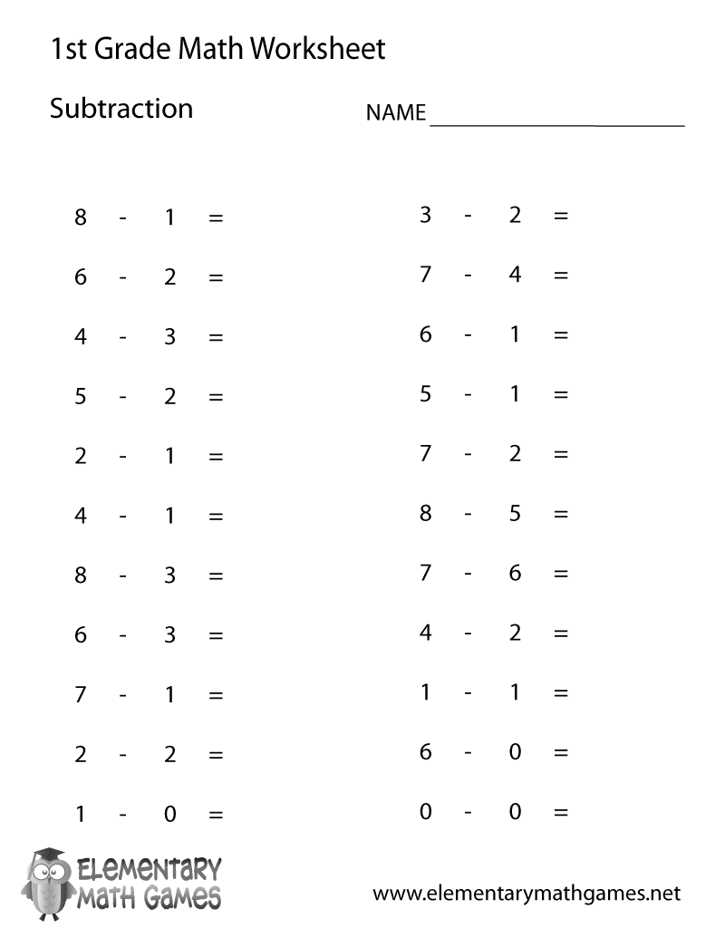 Algebra Fill In The Blank Subtraction 1st Grade Google Search