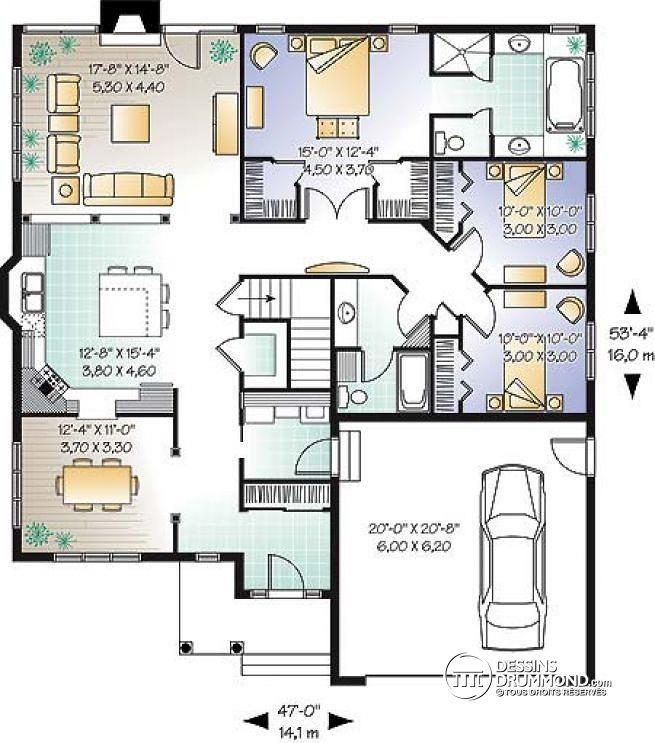 Plan de rez de chauss e plan pour famille reconstitu e for Plans de maison de famille