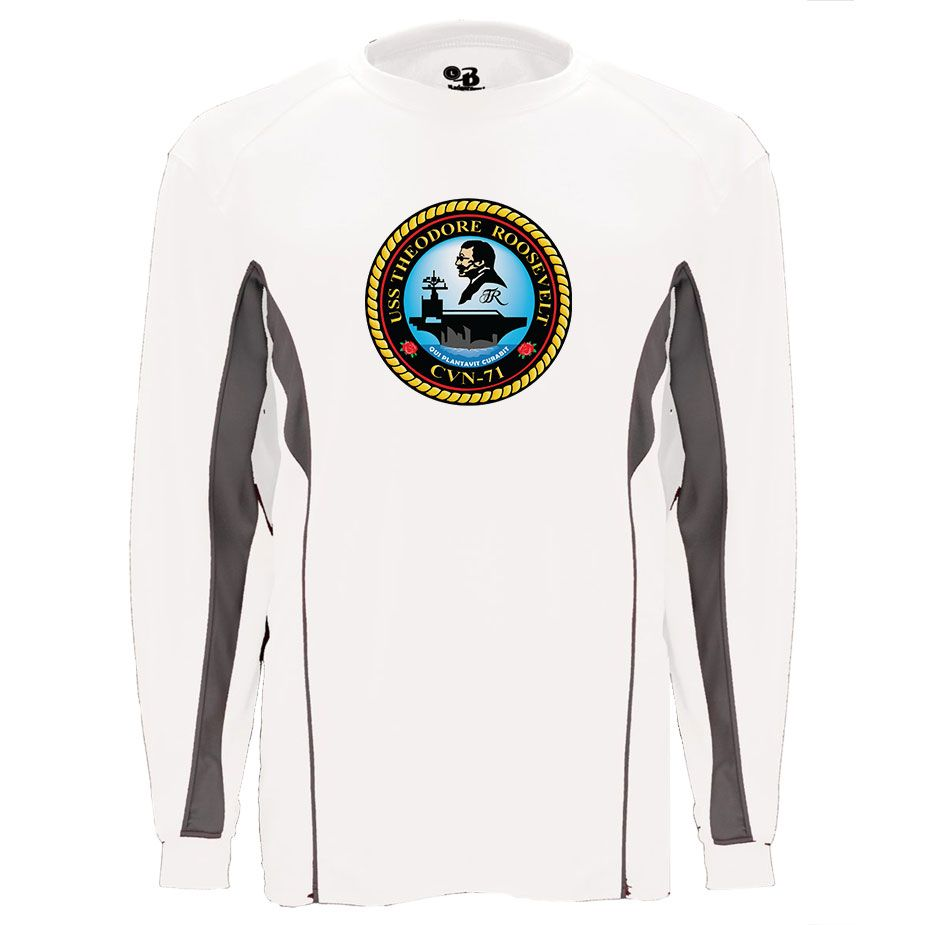USS Theodore Roosevelt Graphite Long Sleeve Shirt now available! Show your Navy Service pride with this White/Graphite Performance Long Sleeve Shirt. This performance shirt features 100% Polyester antimicrobial, moisture wicking fabric that will keep you cool, dry, and comfortable. THIS IS A PERFORMANCE FABRIC SHIRT, NOT COTTON. Designed, Printed & Sublimated in the USA -Fabric Imported.