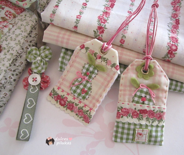 dulces pilukas: Etiquetas tela con conejitos