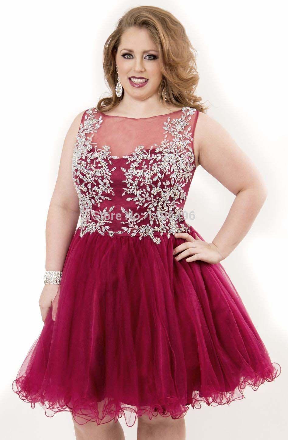 ce87372d7a6 New Elegant Lace Applique Sheer Scoop Plus Size Short Cocktail Party Dress  See…