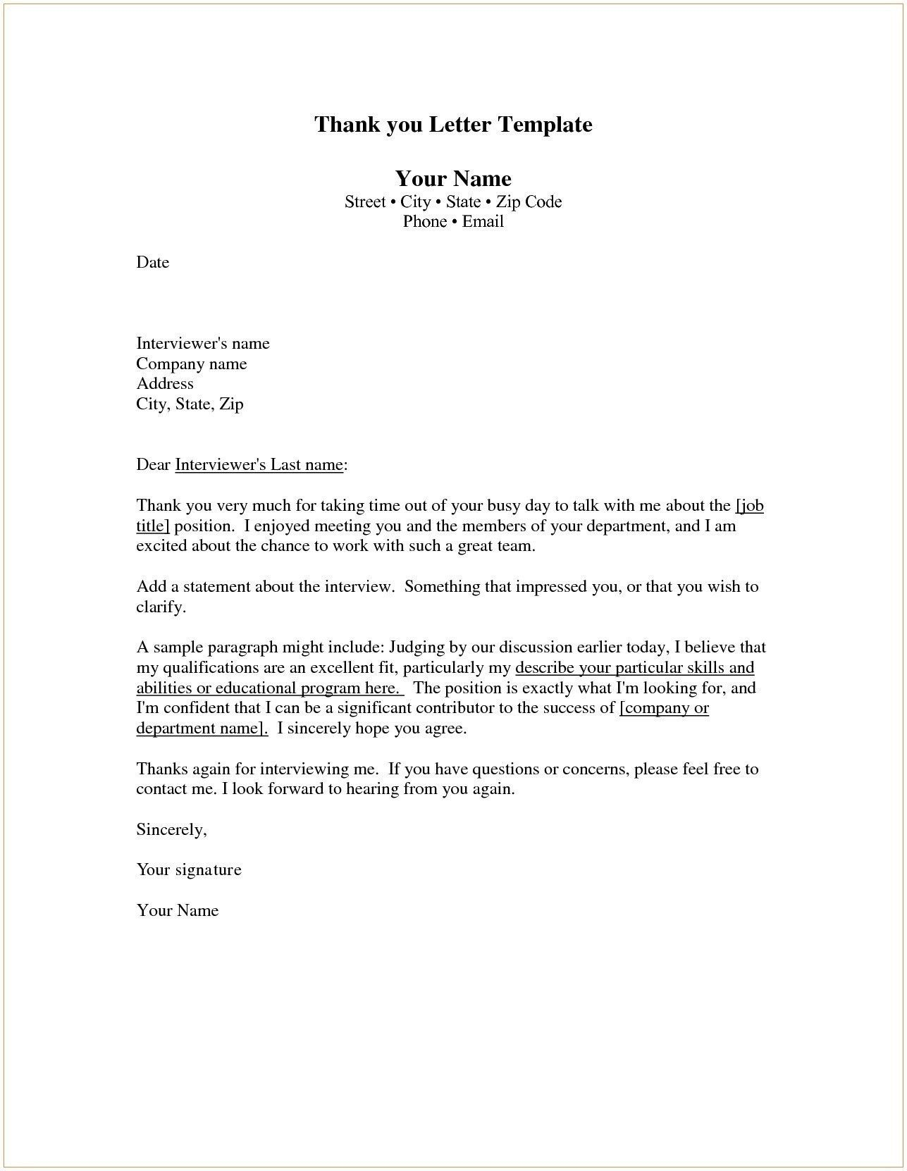 Download New Thank You Letter for Job Interview Examples