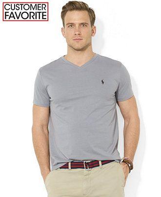 b001d7659 Polo Ralph Lauren Core Medium-Fit V-Neck Cotton Jersey T-Shirt - T-Shirts -  Men - Macy's