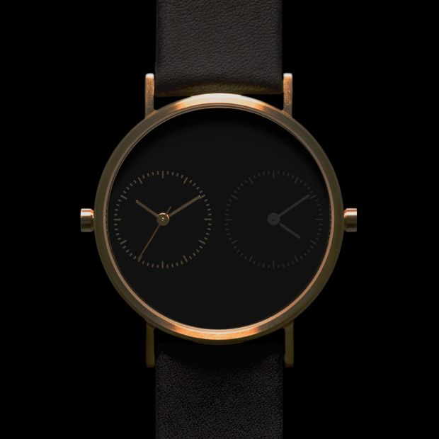 Designed to act as a reminder of the distance between the wearer and a loved one, the face features two dials which can be set to different time zones. #design #watches