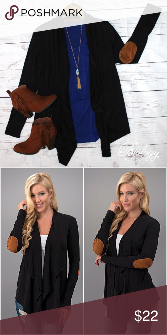 The Little Things Cardigan This lightweight, open front cardigan is one of our most popular items to date! Up your cardigan game with this super cute cardigan that is good all year long. This cardigan features a solid open front with trendy faux suede elbow patches that is sure to be a closet favorite!  Materials: 95% Rayon 5% Spandex. Sweaters Cardigans