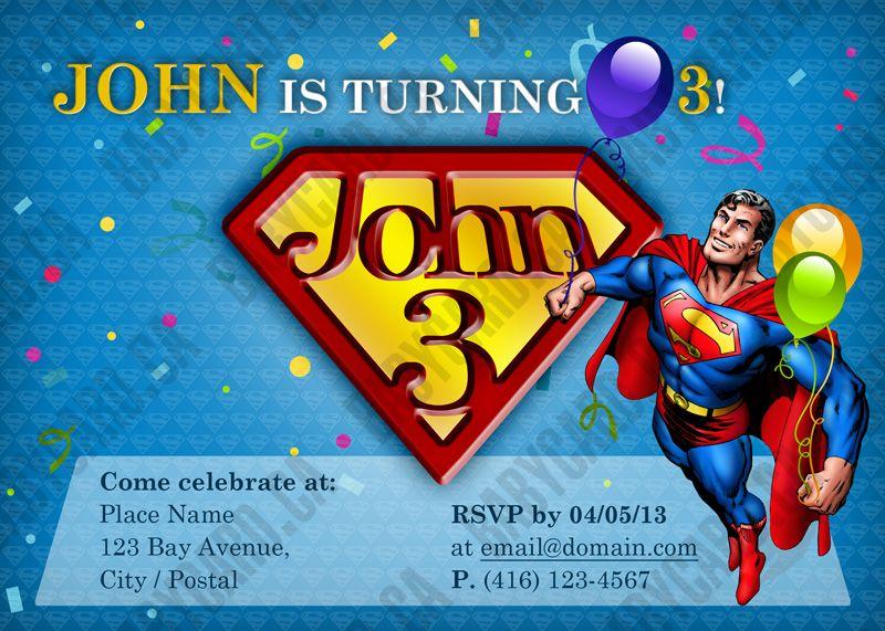Babycardca Custom Superman birthday invitation card Create – Superman Birthday Invitations