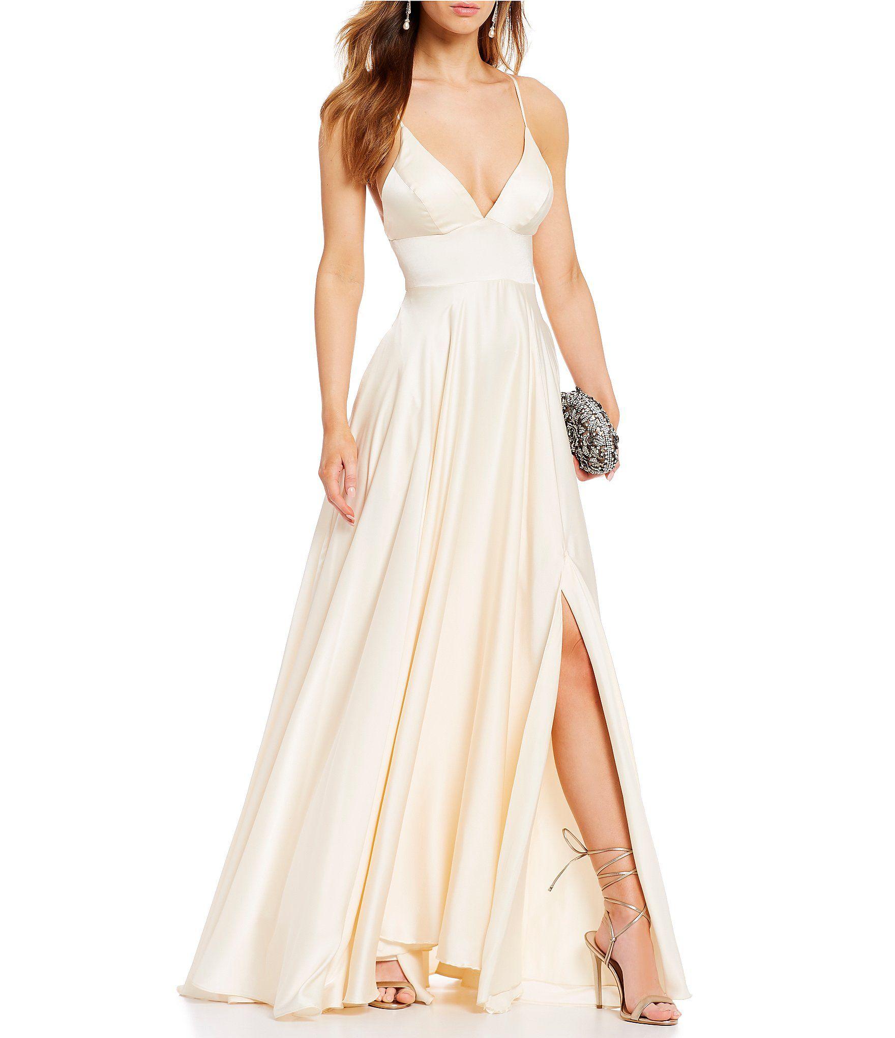 2b66b1df69f Shop for B. Darlin Deep V-Neck Satin A-Line Dress at Dillards.com. Visit  Dillards.com to find clothing
