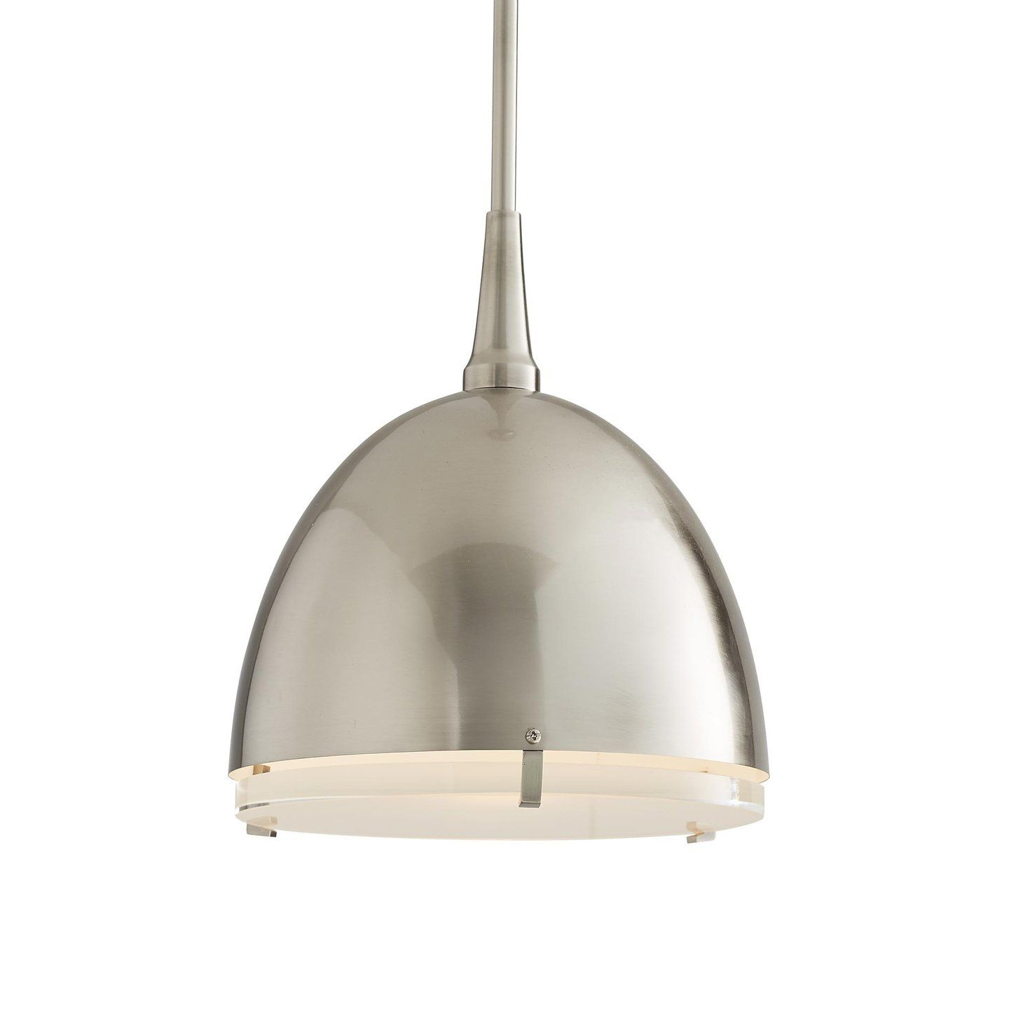 The jannah pendant from arteriors home offers a clean and modern feel with its antiqued silver coloring the dome features a half frosted and half clear