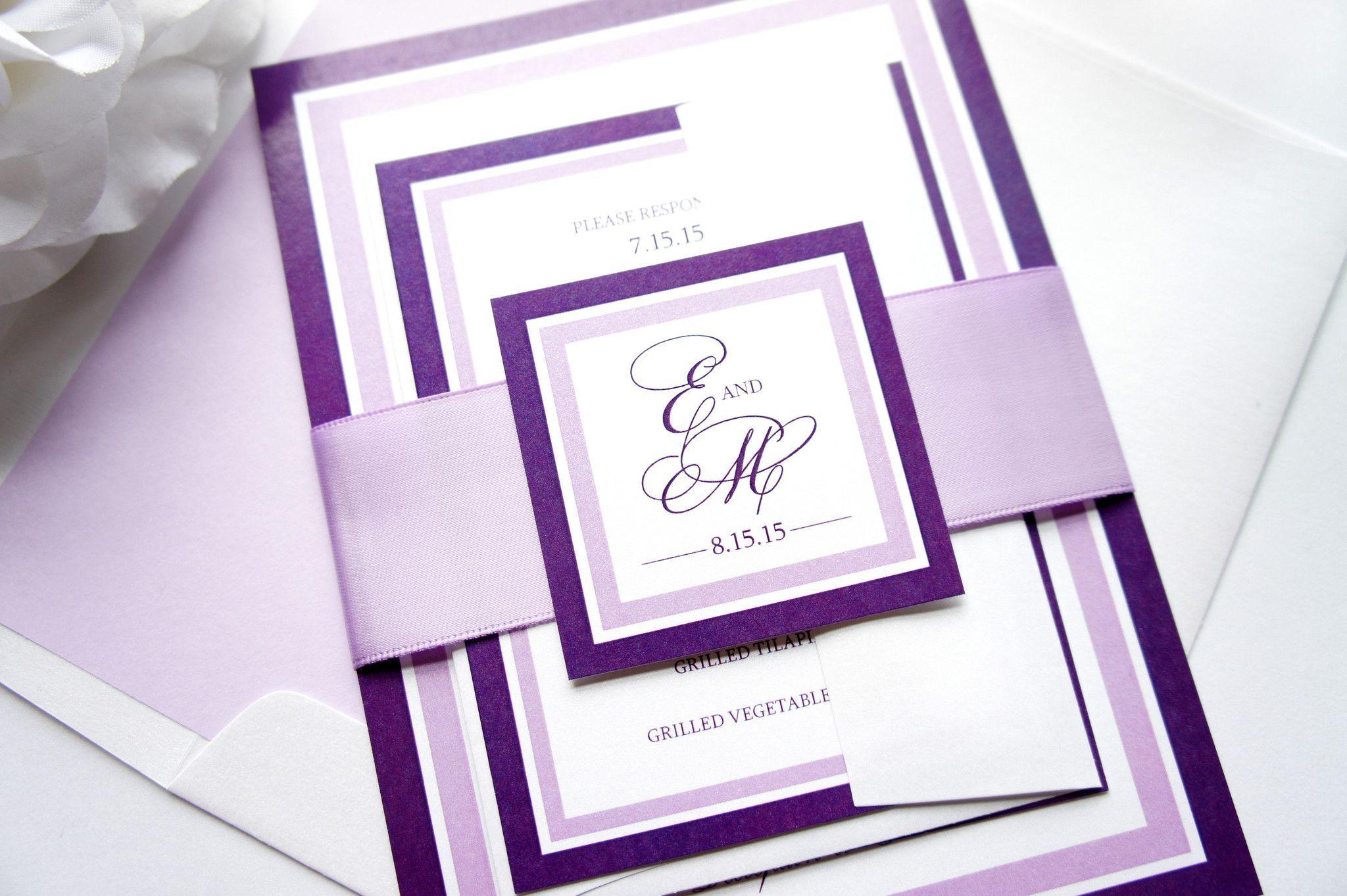 Purple Wedding Invitation - DEPOSIT | Belly bands, Purple wedding ...