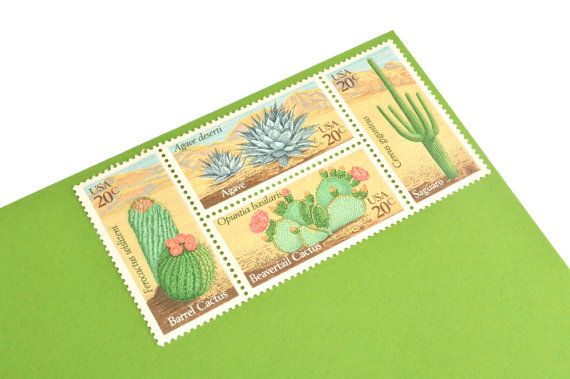 24 Desert Plants Stamps  20c  Vintage 1981 Unused by GubbaGumma
