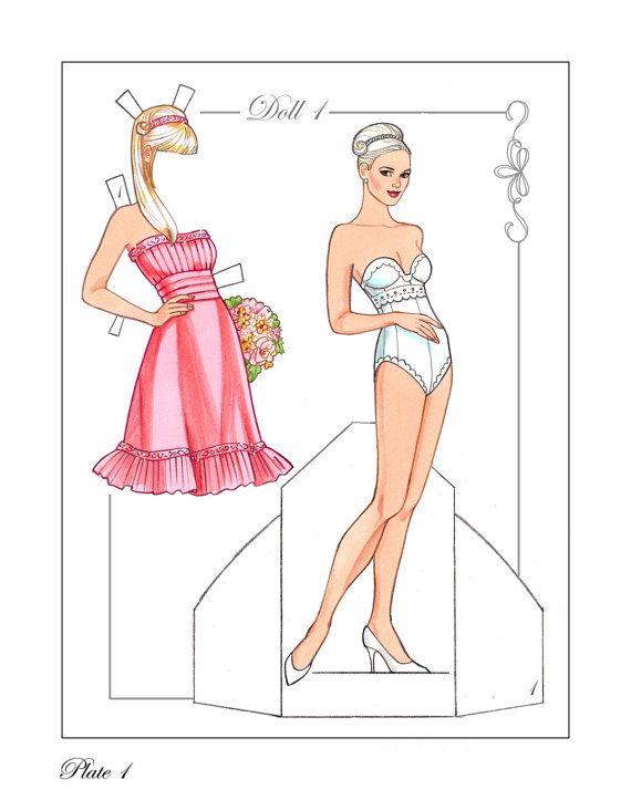 Dream Wedding Paper Dolls with Glitter