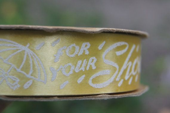 vintage spool of yellow sasheen ribbon for a by thegiftistoday
