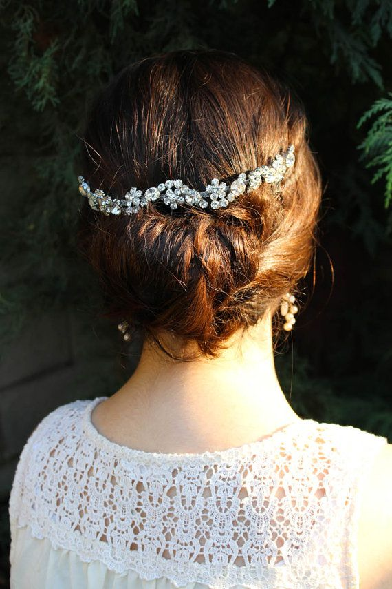 Silver Crystal Wedding Hair Chain Rhinestone Hairpiece für Updo Bridal Hair Accessoires Hochzeits-Kopfstück Haarschmuck Halo Swag Hairpiece
